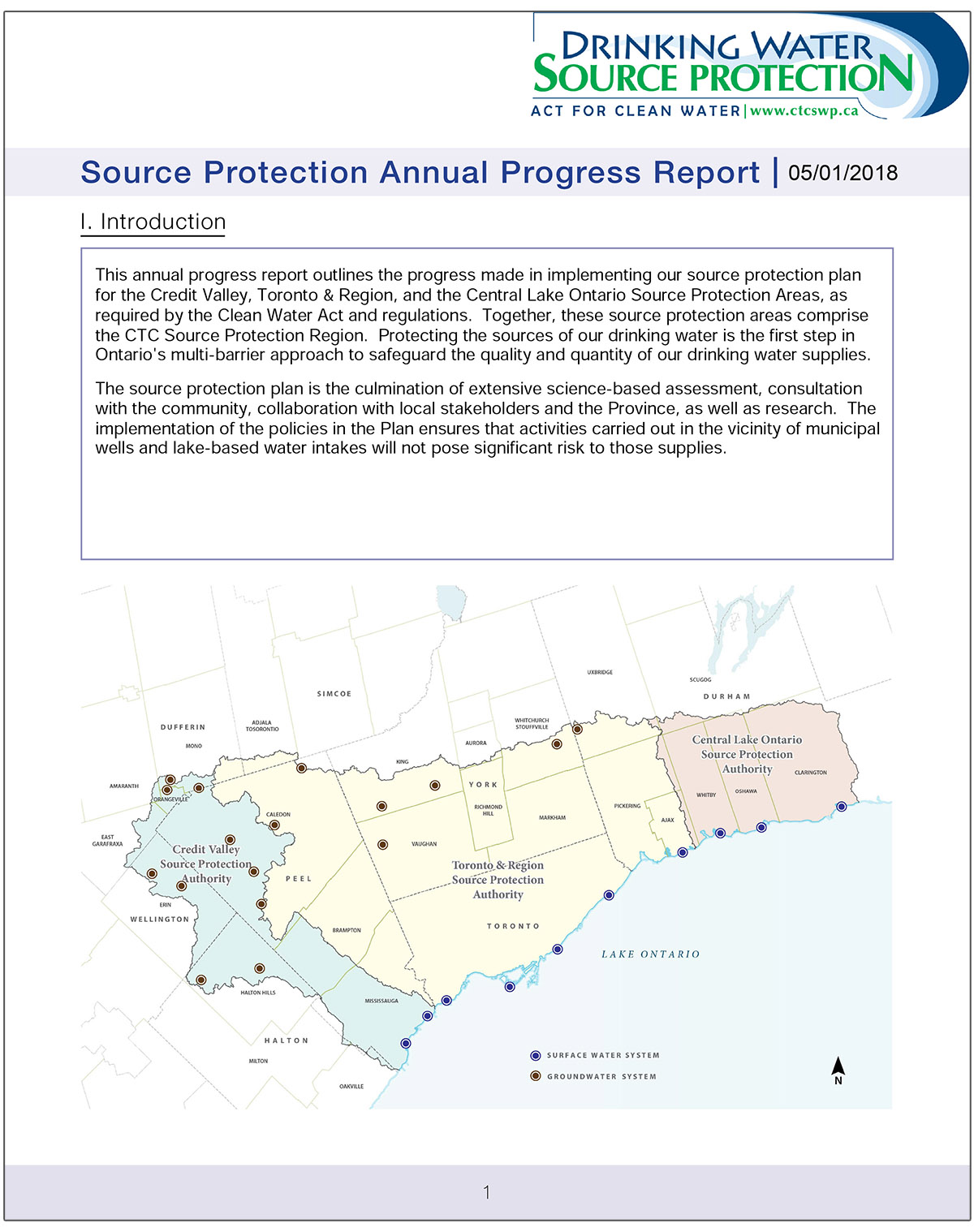 cover of 2017 CTC Source Protection Region annual report